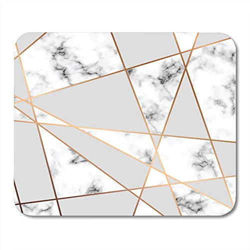 "Gaming Mauspads, Gaming Mouse Pad Gray Marble with Golden Geometric Lines Black and White Marbling Modern Pink 11.8""x 9.8"" Decor Office Computer Accessories Nonslip Rubber Backing Mousepad Mouse Mat von HOTNING"