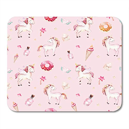 "Gaming Mauspads, Gaming Mouse Pad Isolated Cute Watercolor Unicorn Pattern Nursery Aquarelle Princess Unicornscollection Trendy 11.8""x 9.8"" Decor Office Nonslip Rubber Backing Mousepad Mouse Mat von HOTNING"