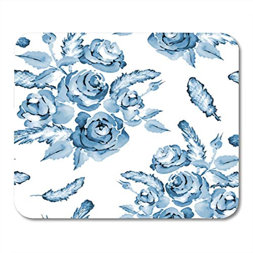 "Gaming Mauspads, Gaming Mouse Pad Pink Monochrome Blue Watercolor Flower Pattern with Roses and Feathers Colorful 11.8""x 9.8"" Decor Office Nonslip Rubber Backing Mousepad Mouse Mat von HOTNING"