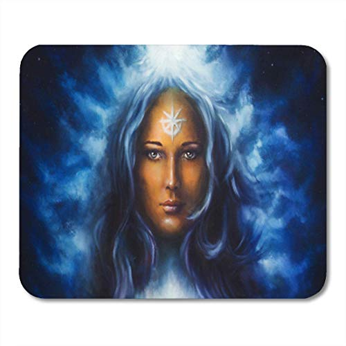 "Gaming Mauspads, Gaming Mouse Pad Spiritual Painting Woman Goddess Long Blue Hair Holding Star 11.8""x 9.8"" Decor Office Nonslip Rubber Backing Mousepad Mouse Mat von HOTNING"