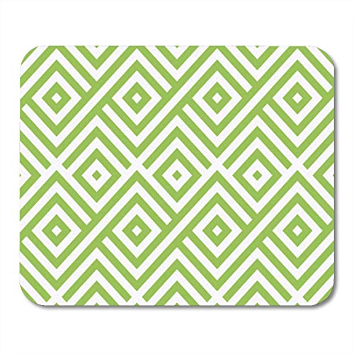 "Gaming Mauspads, Gaming Mouse Pad Vintage Green and White African Geometric Op Pattern Line 11.8""x 9.8"" Decor Office Nonslip Rubber Backing Mousepad Mouse Mat von HOTNING"