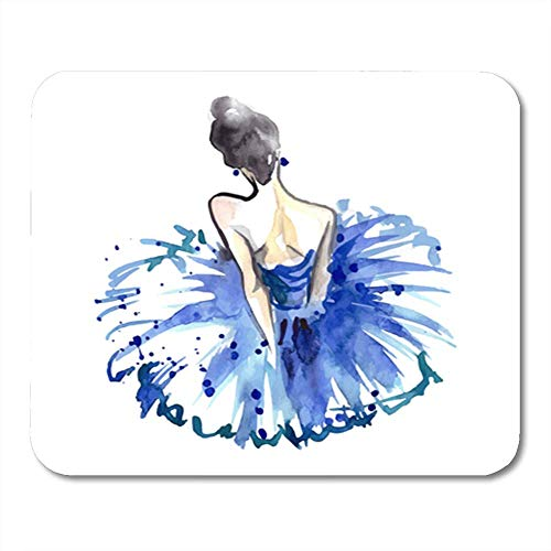 "Gaming Mauspads, Gaming Mouse Pad Women Watercolor Ballerina in Blue Tutu from The Back Ballet Dancer Accessory 11.8""x 9.8"" Decor Office Computer Accessories Nonslip Rubber Backing Mousepad Mouse Mat von HOTNING"