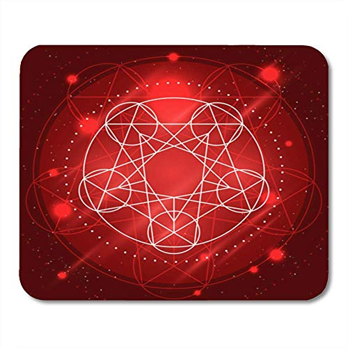 "Gaming Mauspads, Gaming Red Warcraft Magic Geometry Sign Alchemy Mystical Symbol on Space Abstract Ancient 11.8""x 9.8"" Decor Office Computer Accessories Nonslip Rubber Backing Mousepad Mouse Mat von HOTNING"