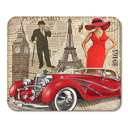 "Gaming Mauspads, Mouse Pad Car Vintage Paris London Torn Newspaper Old Auto Gentleman Collage 1940S 1950S Aged 11.8""x 9.8"" Decor Office Computer Accessories Nonslip Rubber Backing Mousepad Mouse Mat von HOTNING"