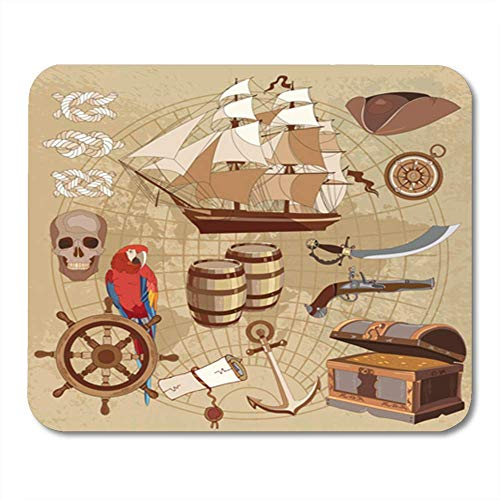 "Gaming Mauspads, Old Pirate Treasure Map Chest Parrot Steering Wheel Skull Rum Saber Hat and Ship 11.8""x 9.8"" Decor Office Computer Accessories Nonslip Rubber Backing Mousepad Mouse Mat von HOTNING"