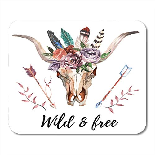 "HOTNING Gaming Mauspads, Gaming Mouse Pad American Watercolor Bull Head Flowers and Feathers on Boho Skull 11.8""x 9.8"" Decor Office Nonslip Rubber Backing Mousepad Mouse Mat von HOTNING"