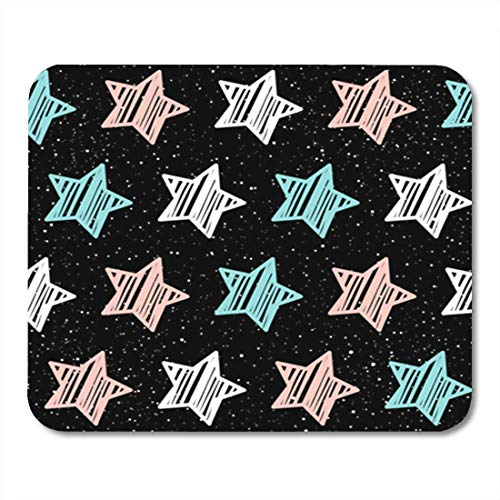 "HOTNING Gaming Mauspads, Gaming Mouse Pad Authentic Pastel Star on Black Pink White and Blue Abstract Album Holiday Garment 11.8""x 9.8"" Decor Office Nonslip Rubber Backing Mousepad Mouse Mat von HOTNING"