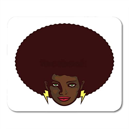 "HOTNING Gaming Mauspads, Gaming Mouse Pad Black Woman Afro Hair and Lightning Bolt Earrings Determined 11.8""x 9.8"" Decor Office Nonslip Rubber Backing Mousepad Mouse Mat von HOTNING"