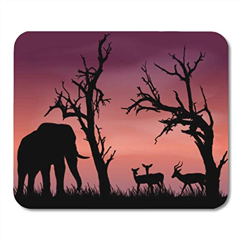 "HOTNING Gaming Mauspads, Gaming Mouse Pad Black and White Silhouettes of Beautiful African Scenery with Dead Trees 11.8""x 9.8"" Decor Office Nonslip Rubber Backing Mousepad Mouse Mat von HOTNING"