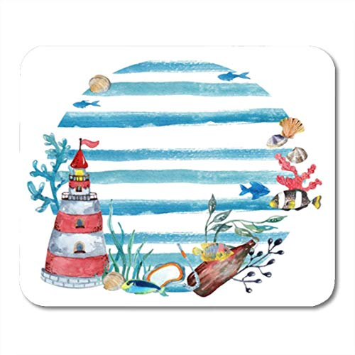 "HOTNING Gaming Mauspads, Gaming Mouse Pad Blue Artistic Watercolor Nautical Lighthouse Bottle Fishes Vacation Beach 11.8""x 9.8"" Decor Office Nonslip Rubber Backing Mousepad Mouse Mat von HOTNING"