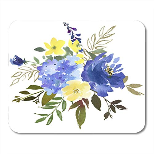 "HOTNING Gaming Mauspads, Gaming Mouse Pad Bridal Royal Blue Yellow Watercolor Floral Round Bouquet Isolated on 11.8""x 9.8"" Decor Office Nonslip Rubber Backing Mousepad Mouse Mat von HOTNING"