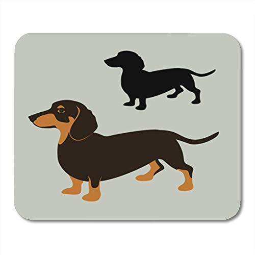 "HOTNING Gaming Mauspads, Gaming Mouse Pad Brown Adorable Dachshund Dog Flat Style Black Silhouette Red Animal Breed Canine 11.8""x 9.8"" Decor Office Nonslip Rubber Backing Mousepad Mouse Mat von HOTNING"