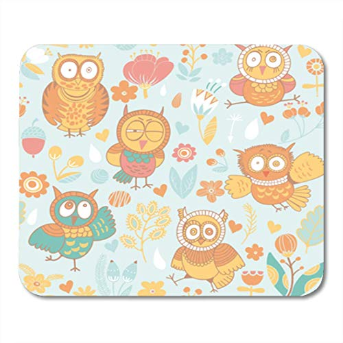 "HOTNING Gaming Mauspads, Gaming Mouse Pad Colorful Bright Cartoon Owls and Flowers Pattern Fills Gorgeous 11.8""x 9.8"" Decor Office Nonslip Rubber Backing Mousepad Mouse Mat von HOTNING"