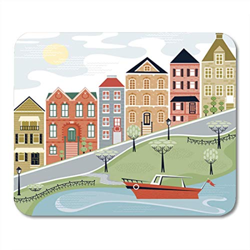 "HOTNING Gaming Mauspads, Gaming Mouse Pad Colorful Francisco Charming Village Street San House Old Move Boat 11.8""x 9.8"" Decor Office Nonslip Rubber Backing Mousepad Mouse Mat von HOTNING"