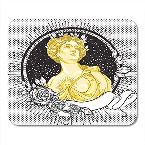 "HOTNING Gaming Mauspads, Gaming Mouse Pad Dark Romance Victorian Cameo Beautiful Greek Lady on Vintage Black Decorated 11.8""x 9.8"" Decor Office Nonslip Rubber Backing Mousepad Mouse Mat von HOTNING"