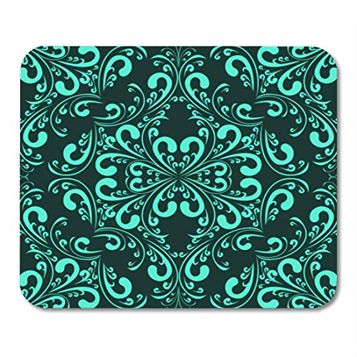 "HOTNING Gaming Mauspads, Gaming Mouse Pad Design Turquoise Seamless Floral Pattern Paper Rich Scroll Vector Wall 11.8""x 9.8"" Decor Office Nonslip Rubber Backing Mousepad Mouse Mat von HOTNING"