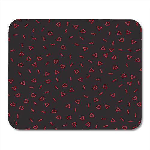 "HOTNING Gaming Mauspads, Gaming Mouse Pad Doodle Pattern Red Lines Triangles and Hearts for Valentine`S 11.8""x 9.8"" Decor Office Nonslip Rubber Backing Mousepad Mouse Mat von HOTNING"