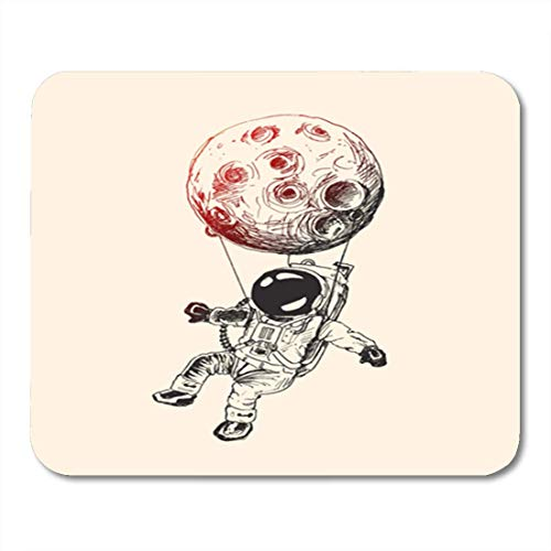 "HOTNING Gaming Mauspads, Gaming Mouse Pad Draw Moon Hanging Astronauts Space Mission Sketch Spaceman Balloon 11.8""x 9.8"" Decor Office Nonslip Rubber Backing Mousepad Mouse Mat von HOTNING"