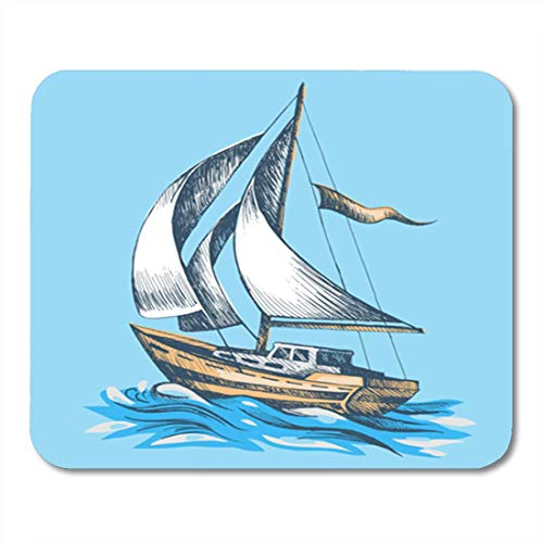 "HOTNING Gaming Mauspads, Gaming Mouse Pad Drawing Sailing Boat Flag Sketch Waves Sea Floats on Water 11.8""x 9.8"" Decor Office Nonslip Rubber Backing Mousepad Mouse Mat von HOTNING"
