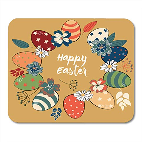 "HOTNING Gaming Mauspads, Gaming Mouse Pad Easter Eggs in The Circle Colored Vintage Colorful Flowers and Leaves on Gold 11.8""x 9.8"" Decor Office Nonslip Rubber Backing Mousepad Mouse Mat von HOTNING"