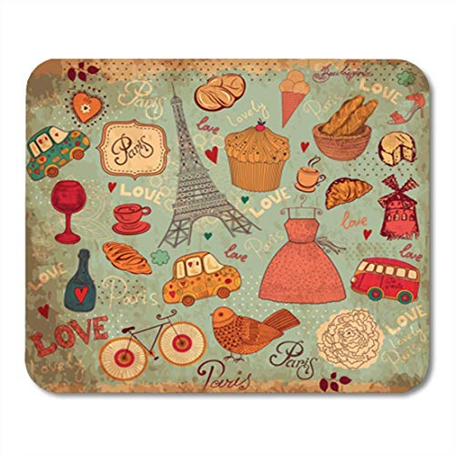 "HOTNING Gaming Mauspads, Gaming Mouse Pad French of Paris Symbols Travel Pattern Vintage France Cupcake Car 11.8""x 9.8"" Decor Office Nonslip Rubber Backing Mousepad Mouse Mat von HOTNING"