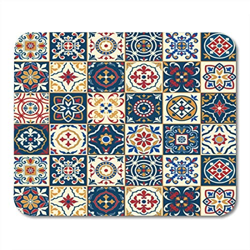 "HOTNING Gaming Mauspads, Gaming Mouse Pad Gorgeous White Colorful Moroccan Portuguese Tiles Azulejo Ornaments Pattern 11.8""x 9.8"" Decor Office Nonslip Rubber Backing Mousepad Mouse Mat von HOTNING"