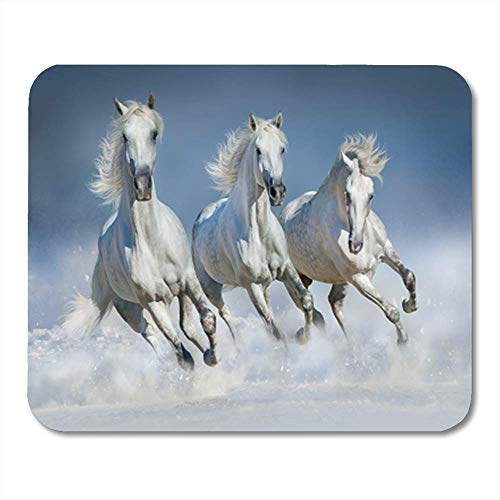 "HOTNING Gaming Mauspads, Gaming Mouse Pad Gray Group of Beautiful Horses Run Gallop in Snow Winter Field Blue 11.8""x 9.8"" Decor Office Computer Accessories Nonslip Rubber Backing Mousepad Mouse Mat von HOTNING"