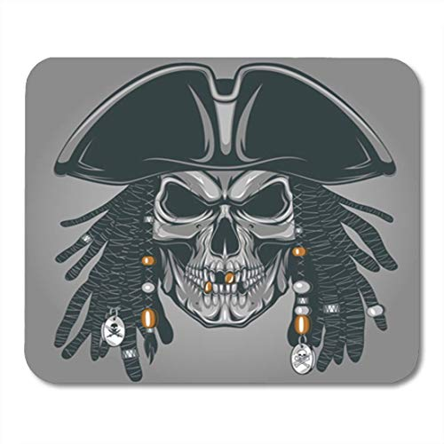 "HOTNING Gaming Mauspads, Gaming Mouse Pad Hair Vector Illustration of an Evil Pirate Skull in Hat 11.8""x 9.8"" Decor Office Nonslip Rubber Backing Mousepad Mouse Mat von HOTNING"