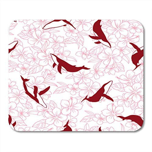 "HOTNING Gaming Mauspads, Gaming Mouse Pad Hibiscus and Whale Pattern I Drew for Designing It 11.8""x 9.8"" Decor Office Nonslip Rubber Backing Mousepad Mouse Mat von HOTNING"