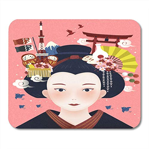 "HOTNING Gaming Mauspads, Gaming Mouse Pad Japanese Beautiful Geisha Landmarks and Hair Accessories on Her 11.8""x 9.8"" Decor Office Nonslip Rubber Backing Mousepad Mouse Mat von HOTNING"