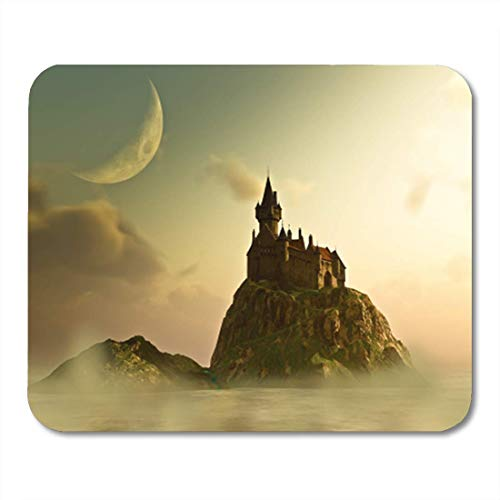 "HOTNING Gaming Mauspads, Gaming Mouse Pad Old Castle Sits on Island at Hazy Sunrise Sunset Under 11.8""x 9.8"" Decor Office Nonslip Rubber Backing Mousepad Mouse Mat von HOTNING"
