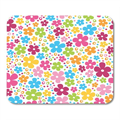 "HOTNING Gaming Mauspads, Gaming Mouse Pad Pink Power Cute Spring Flowers and Dots Colorful Pattern 11.8""x 9.8"" Decor Office Nonslip Rubber Backing Mousepad Mouse Mat von HOTNING"