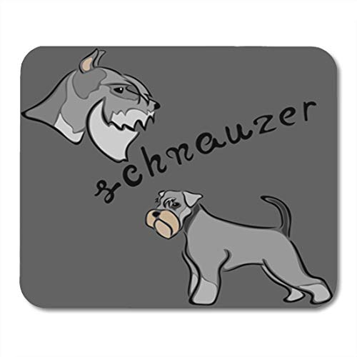 "HOTNING Gaming Mauspads, Gaming Mouse Pad Schnauzer Dog Breed Sketch in Minimal Simple Emblem 11.8""x 9.8"" Decor Office Nonslip Rubber Backing Mousepad Mouse Mat von HOTNING"