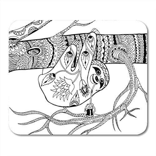 "HOTNING Gaming Mauspads, Gaming Mouse Pad Sloth on Branch Patterns for Coloring Freehand Sketch Drawing Adult 11.8""x 9.8"" Decor Office Nonslip Rubber Backing Mousepad Mouse Mat von HOTNING"