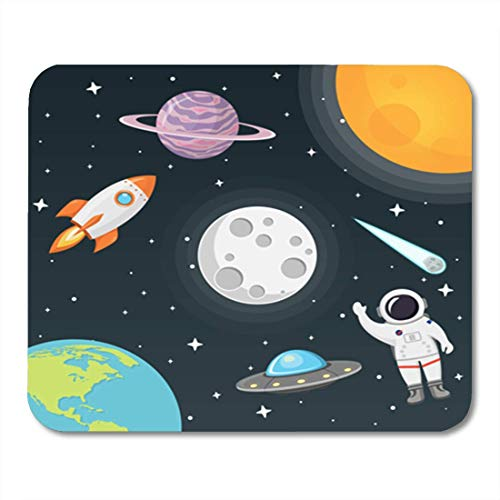 "HOTNING Gaming Mauspads, Gaming Mouse Pad Spaceship Space Moon Sun Rocket Astronaut Planet UFO and Comet 11.8""x 9.8"" Decor Office Nonslip Rubber Backing Mousepad Mouse Mat von HOTNING"