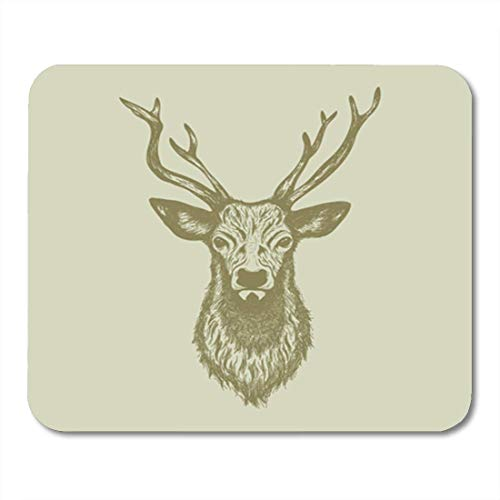 "HOTNING Gaming Mauspads, Gaming Mouse Pad Stag Deer Head Handrawn Buck White Abstract Animal Antler Collection 11.8""x 9.8"" Decor Office Nonslip Rubber Backing Mousepad Mouse Mat von HOTNING"