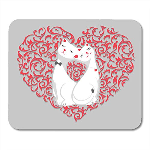 "HOTNING Gaming Mauspads, Gaming Mouse Pad Two Cute White Lovers Cartoon Cat in Pink Floral Pattern 11.8""x 9.8"" Decor Office Nonslip Rubber Backing Mousepad Mouse Mat von HOTNING"