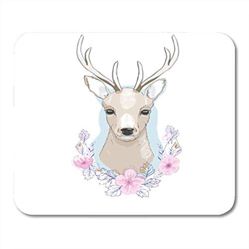 "HOTNING Gaming Mauspads, Gaming Mouse Pad Watercolor Baby Deer Big Antlers Flowers Horns Abstract Animal Beautiful 11.8""x 9.8"" Decor Office Nonslip Rubber Backing Mousepad Mouse Mat von HOTNING"