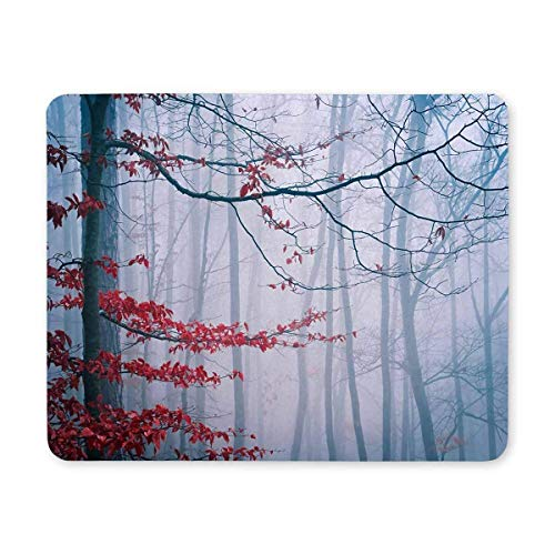BGLKCS Customized Rectangle Mauspads Tree in The Misty Autumn Forest Mouse Mat Computer Desk Stationery Accessories von HYYCLS