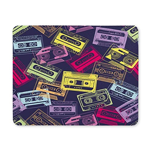BGLKCS Rectangle Non-Slip Rubber Mouse Pad Hipster Colorful Retro Cassettes Mauspads Mat, 9.84 x 7.87 inches von HYYCLS