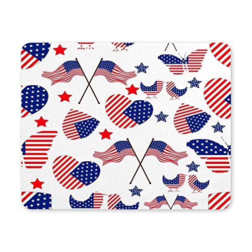 BGLKCS United States Flag in Heart Mouse Pads for Gift Support Wired Wireless or Bluetooth Mouse von HYYCLS