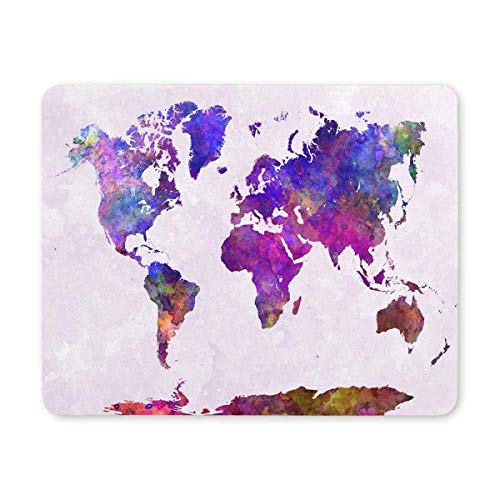 BGLKCS World Map in Watercolor Painting Abstract Splatters Purple Warm Printed Mauspads Non Slip Rubber Gaming Mouse Pad von HYYCLS