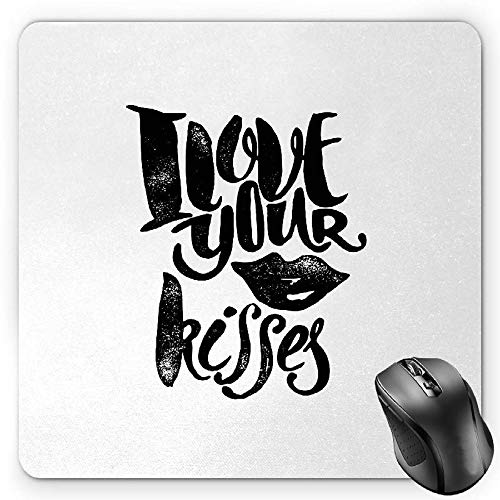 BGLKCS Romantic Mauspads,I Love Your Kisses Grungy Looking Phrase with Smiling Woman Black Lipstick Mark,Standard Size Rectangle Non-Slip Rubber Mousepad,Black White von HYYCLS