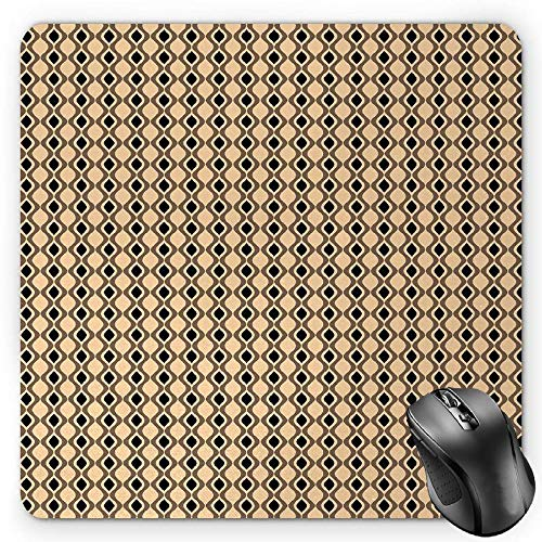 BGLKCS Abstract Mauspads,Wavy Vertical Lines with Oval Shapes Pattern with Vintage Inspirations,Standard Size Rectangle Non-Slip Rubber Mousepad,Beige Taupe Black von HYYCLS