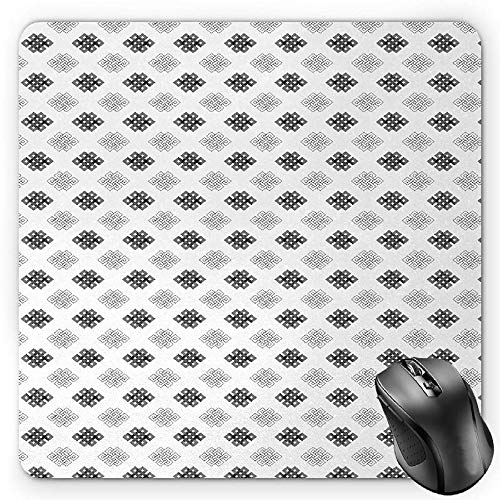 BGLKCS Tattoo Mauspads,Intricate Geometrical Motifs Knots in Greyscale Pattern Esoteric Zen Charm Symbols,Standard Size Rectangle Non-Slip Rubber Mousepad,Grey White von HYYCLS
