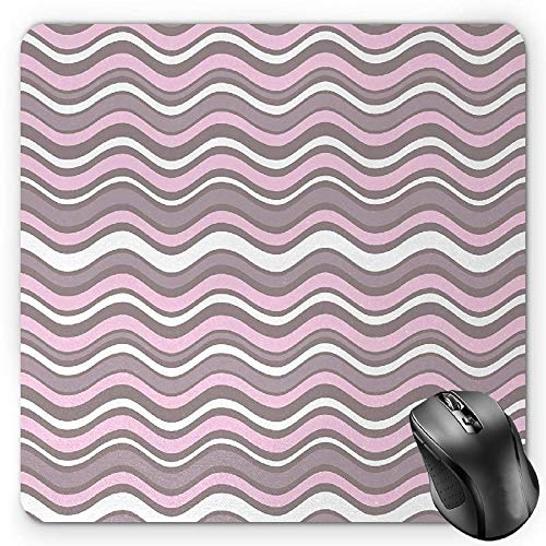 BGLKCS Geometric Mauspads,Wavy Horizontal Stripes Ocean Pattern Abstract Inspirations Sea Effect,Standard Size Rectangle Non-Slip Rubber Mousepad,Warm Taupe Pink Cream von HYYCLS