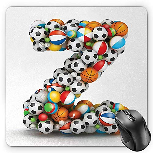 BGLKCS Letter Z Mauspads Mouse Pad, Colorful Different Balls Forming a Letter Z Fun Games for Children Activity Hobby, Standard Size Rectangle Non-Slip Rubber Mousepad, Multicolor von HYYCLS