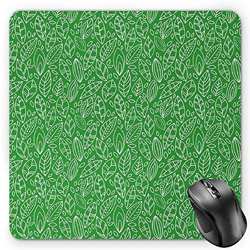 BGLKCS Green Mauspads Mouse Pad, Doodle Style Leaves in Different Shapes Abstract Fresh Garden Botanical Foliage, Standard Size Rectangle Non-Slip Rubber Mousepad, Lime Green White von HYYCLS
