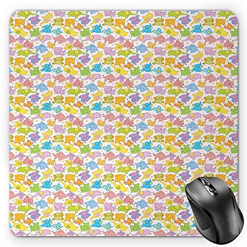 BGLKCS Nursery Mauspads Mouse Pad, Abstract African Animals with Polka Dot Pattern Elephant Hippopotamus and Butterfly, Standard Size Rectangle Non-Slip Rubber Mousepad, Multicolor von HYYCLS