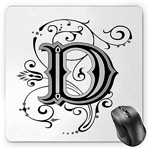 BGLKCS Letter D Mauspads Mouse Pad, Initial Letter from Medieval Scrolls Capital D Symbol Medieval Design Print, Standard Size Rectangle Non-Slip Rubber Mousepad, Black Grey White von HYYCLS